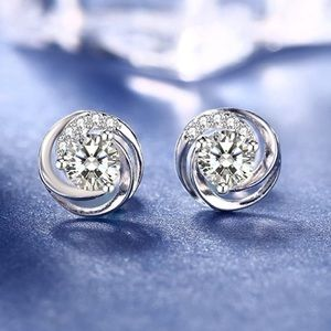 New in Box .925 Silver and CZ Stud Earrings